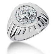 1.10 Carats Tw Men's Ring With Round Brilliant Cut Diamonds In 14k White Gold