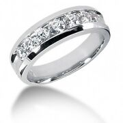 1.95 Carats Menand039s Round Brilliant Cut Diamond Wedding Band Ring 14kt White Gold