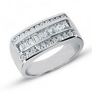 1.80 Carats Menand039s Round Brilliant And Baguette Cut Diamond Ring 14k White Gold