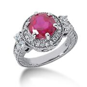 1.00 Carats Tw Womenand039s Diamond And Ruby Fancy Color Stone Ring In 14k White Gold