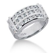 1.75 Carats 3 Row Round Brilliant Cut Channel Set Diamond Ring In 14k White Gold