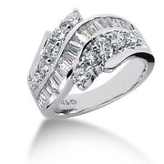 2.25 Carats Tw Womenand039s Round And Baguette Cut Diamond Anniversary Ring 14k Wg