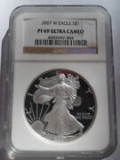 2007 West Point American Eagle Proof Silver Dollar Ngc Pf69 Ultra Cameo