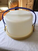 Vintage Tupperware Tall Cake Taker Carrier Blue Handle And Yellow Base