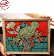 Old Vintage Parrot Wooden Hand Made Beads Photograph Framed Collectible 6071