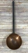 Vintage Huge Hammered Copper Ladle Spoon Bowl Wall Forged Iron Handle 29.5
