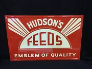 Vintage Antique Hudson Hudsons Feed Sign Seed Farm Agriculture Advertising