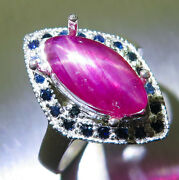 Natural Star Ruby And Sapphires 925 Silver Gold Platinum Engagement Ring