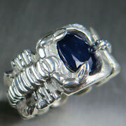3.2ct Natural Solid Dark Blue Silver Gold Platinum Scorpion Unisex Ring All Size