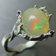 3.25ct Natural Welo Opal Multi-colour And Sapphire 925 Silver Gold Platinum Ring