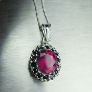2.9ct Natural Pink-red Rubellite Tourmaline 925 Sterling Silver / Gold Pendant