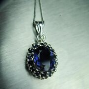 2.20cts Natural Purple Iolite And Sapphire 925 Sterling Silver /gold Pendant
