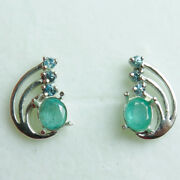 1.3ctsnatural Emerald And Zircon 925 Silver 9ct 14k 18k Gold Stud Earrings