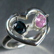 Natural Pink And Blue Spinel 925 Silver /9ct 14k 18k Gold Platinum Heart Ring