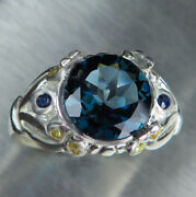 Natural London Blue Topaz And Sapphires 925 Silver 9ct 14k 18k Gold Platinum Ring