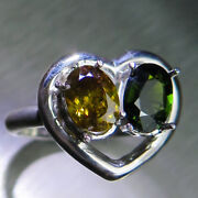 Natural Chrome Diopside And Sphalerite 925 Silver 9ct 14k 18k Gold Heart Ring