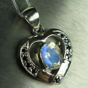 Natural Rainbow Moonstone Andsapphire 925 Sterling Silver /gold Heart Pendant