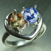 Natural Andalusite And Tanzanite 925 Silver 9ct 14k 18k Gold Engagement Heart Ring