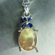 Natural Andesine Labradorite And Sapphires 9ct 14k 18k Yellow White Gold Pendant
