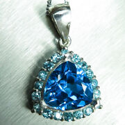4.4cts Natural Swiss Blue Topaz 925 Sterling Silver / 9ct 14k 18k Gold Pendant