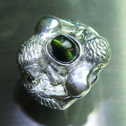 4.55ct Natural Green Catand039s Eye Tourmaline 925 Silver / Gold Unisex Lions Ring