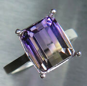 6.4cts Natural Bi-colour Ametrine 925 Silver 9ct 14k 18k Gold Solitaire Ring