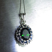 3ct Natural Chrome Diopside And Sapphire 925 Sterling Silver /gold Pendant
