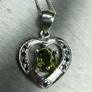 Natural Olive Green Tourmaline Andsapphire 925 Sterling Silver /gold Heart Pendant
