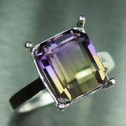 6.1cts Natural Bi-colour Ametrine 925 Silver 9ct 14k 18k Gold Solitaire Ring