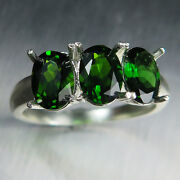 Natural Vivid Green Chrome Diopside 925 Silver /9ct 14k 18k Gold Platinum Ring