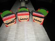 Christmas Square Paper Buckets Soldiers Set Of 3- New/free Shipping
