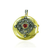 Ruby Diamond Pendant Gold 925 Sterling Silver Indian Ethnic Look Jewelry