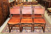 Set Of 6 Antique Renaissance Oak Dining Room Chairs With Original Leather