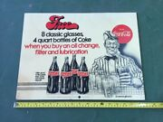 Rare Coca Cola Free Glasses And Bottles Of Coke With Oil Change Hard Plastic Sign