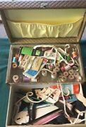 Vintage Sewing Box Kit Full Supplies Thread Crafts Zippers