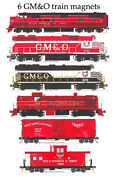 Gulf Mobile And Ohio Locomotives Freight Cars Caboose Set 6 Magnets Andy Fletcher