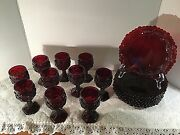 Avon 1876 Cape Cod Ruby Red Glass Goblets And Dessert Plates Vintage Christmas