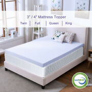Memory Foam Mattress Topper 2.5and039and039/3and039and039/4and039and039 Queen King Twin Full Size Lavender Gel