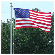 18 Ft. Steel Flagpole W/ 3and039x5and039 U.s.flag 3and039x5and039 State Flag And2 Car Antenna Flags