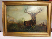 Great Stag On Guard Would Be A Good Title For This Wonderful Early Oil Painting