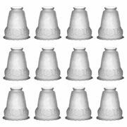 12 Lamp Shade Frosted Glass Flowers Bell 5 1/2 H 2 1/4 Fitter| Renovator's Su