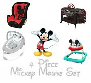 New 4 Pc Mickey Mouse Set Convertible Car Seat Play Yard Walker Booster Bouncer
