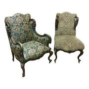 Pair Of 19th Century Victorian Tapestry Chairs W/carved Heads
