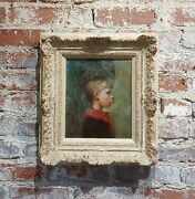 19th Century American School -profile Of A Young Boy-oil Painting