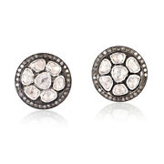 3.44ct Rose Cut Diamond 14 Kt Gold Cufflink .925 Sterling Silver Menand039s Jewelry