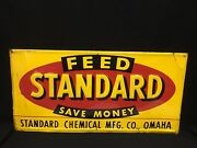Rare Vintage Standard Feed Feeds Farm Sign Agriculture Chemical Advertising