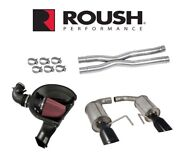 Roush X Pipe Cold Air Intake And Exhaust With Black Tips - 2015-2017 Mustang Gt