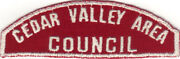 Boy Scout Rws Cedar Valley Area / Council Red And White Full Strip Very Rare