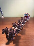 Cast Iron Horse Drawn Beer Wagon Dog 2 Drivers 8 Clydesdales 31 Barrels