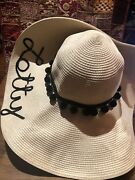 Hats By Olivia Vintage Style New Ivory And Black Woven Straw Wide Brim Sun Hat